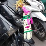 Motor Bike decorated for Tumpek Landep. Tumpek Landep is a ceremonial day at which offerings are made for objects that are made of metal. #bali #ceremony #tumpeklandep