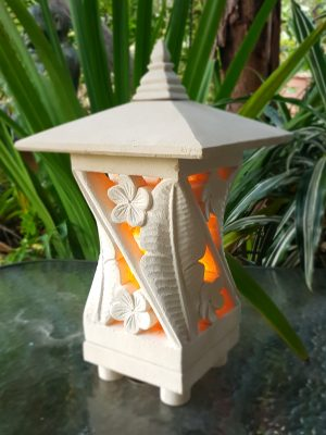 BALI LIMESTONE LANTERN large 45x25cm Leaf design - Limestone for interiors and outdoor design with a hole in the base for a powered light to be installed.