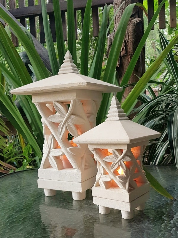 Pagoda Limestone Lanterns BAMBOO- Limestone for interiors and outdoors with a hole in the base for a powered light to be installed.