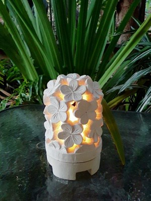 Balinese lantern - FRANGIPANI - 25x15cm - Limestone for interior and outdoor. Install power through a hole in the bottom or add a candle.