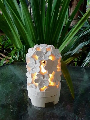Balinese lantern - FRANGIPANI - 25x15cm - Limestone for interior and outdoor design. Add power through a hole in the bottom or add a candle for ambience.