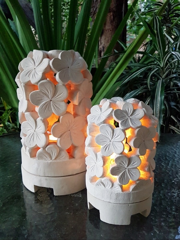 limestone lanterns - Frangipani - Balinese for interior and outdoor design. Add power through a hole in the bottom or add a candle.