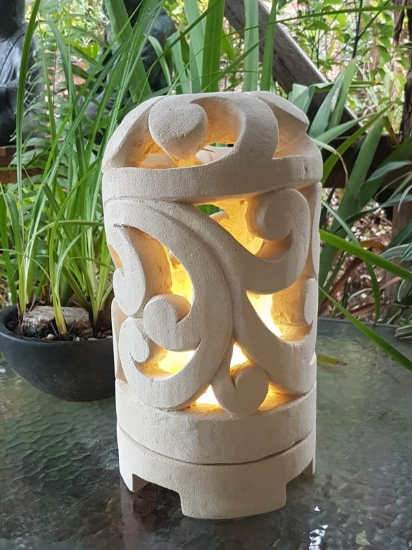 Balinese limestone lantern - SCROLL design - 35x20cm for interior and outdoor design. Add power through a hole in the bottom or add a candle.