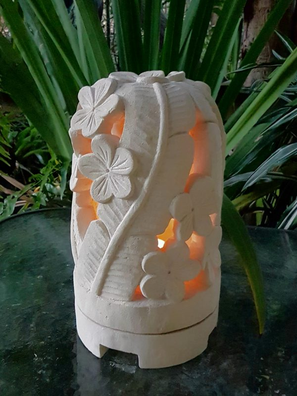 Balinese limestone lantern - 35x20cm - LEAF dome - hand carved limestone, they have a hole in the base for a powered light to be installed if preferred.