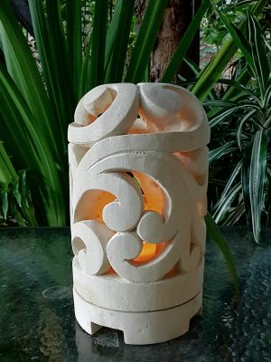 Balinese limestone lantern - SCROLL design - 35x20cm for interior and outdoor design. Add power through a hole in the bottom or add a candle for ambience.