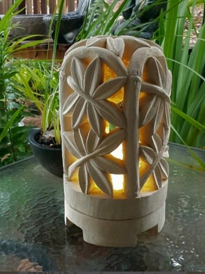 Balinese LIMESTONE LANTERN - BAMBOO DOME 35x20cm. CPS14B Lanterns are great for the interiors or outdoors, can be powered or candlelight.