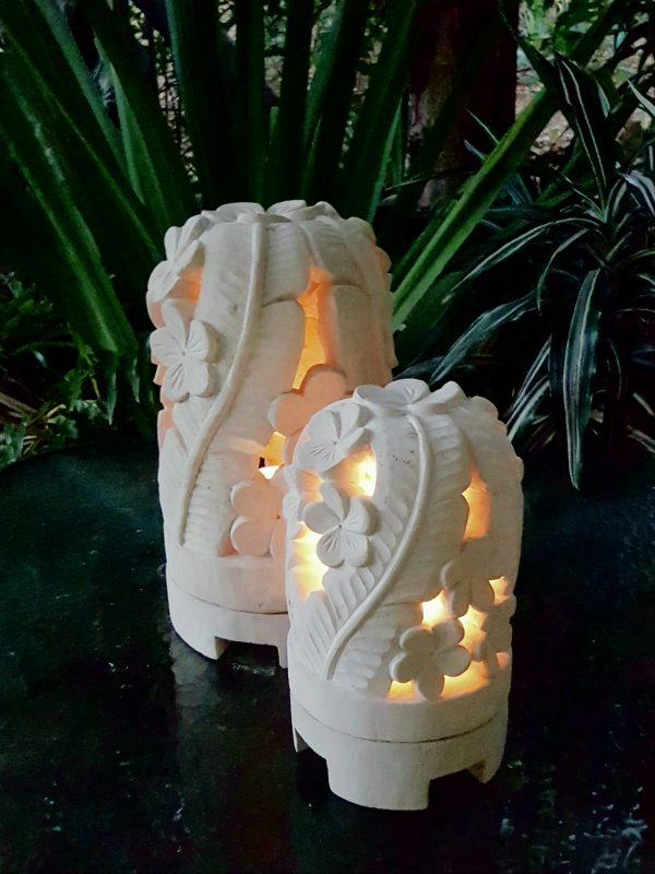 Balinese limestone lanterns - LEAF dome - hand carved limestone, they have a hole in the base for a powered light to be installed if preferred.