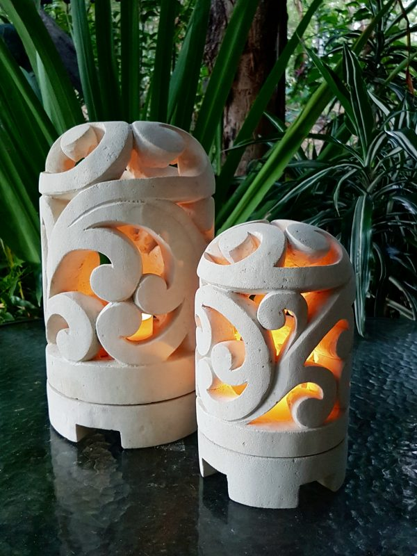 Balinese limestone lantern - SCROLL design - for interior and outdoor design. Add power through a hole in the bottom or add a candle for ambience.