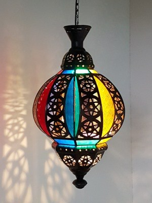 MOROCCAN light - cutout brass 55x30cm - glass and brass handcrafted in Bali will not rust - a large door on the side for access.
