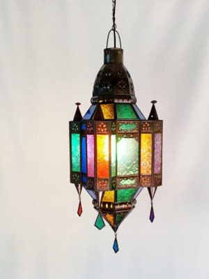 Moroccan Light 50x20cm CPL32 Glass and Brass- handcrafted in Bali will not rust a large door on the side for access.