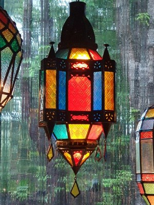 Moroccan Light or Lantern-COLOURFUL - Glass and Brass- 50x30cm - handcrafted in Bali will not rust a large door on the side for access.