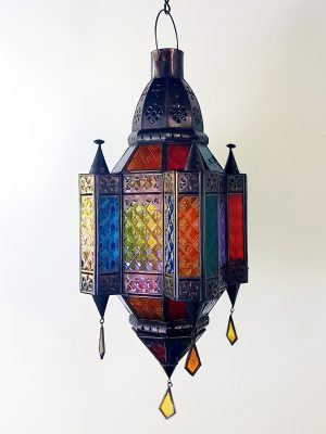 Moroccan Light or Lantern-COLOURFUL - Glass and Brass- 50x30cm - handcrafted in Bali will not rust. Each light has a large door on the side for access.