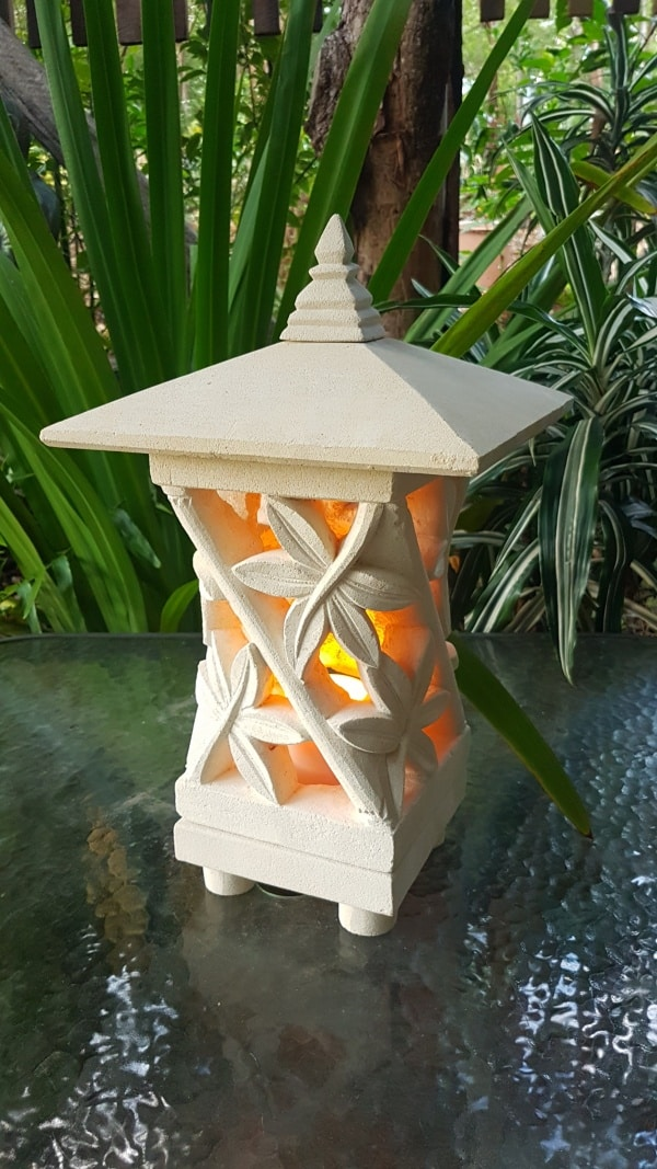 Pagoda Limestone Lantern BAMBOO 45x25cm, Limestone for interiors and outdoors with a hole in the base for a powered light to be installed.