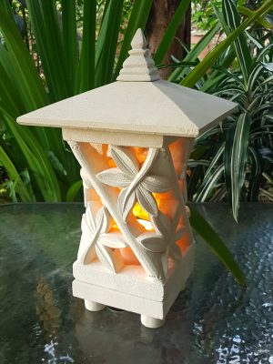 PAGODA LIMESTONE LANTERN 45x25cm Bamboo design, Limestone for interiors and outdoor design with a hole in the base for a powered light to be installed.