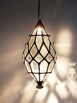 Pendant Light - Bevelled -45x20cm CPL10 - Glass and Brass handcrafted in Bali will not rust. Each light has a large door on the side for access.
