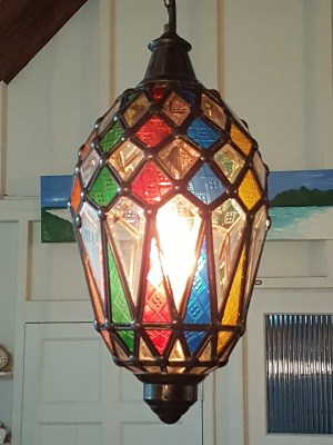 Pendant Lights - Bevelled and Colour -45x20cm- CPL12 glass and brass handcrafted in Bali will not rust - a large door on the side for access.