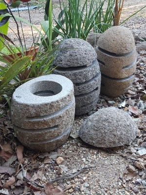 River Stone Garden Light 30x18cm. Slotted Stone lights have a hole in the bottom as access for youto add power for your garden.