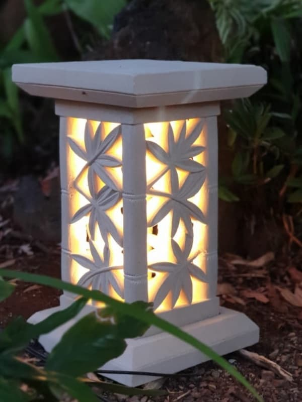 Stone plant stand - Bamboo design 50x30cm-CPS39. Perfect for a plant or statue outdoors. Add an access hole through the bottom for power.
