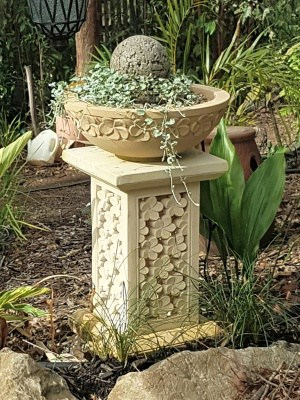 stone plant stand - FRANGIPANI 50x30cm CPS40 Perfect for a plant or statue indoors or outdoors. Add a hole through the bottom for power.