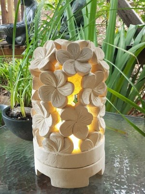 limestone lantern - Frangipani 35x20cm - Balinese for interior and outdoor design. Add power through a hole in the bottom or add a candle.
