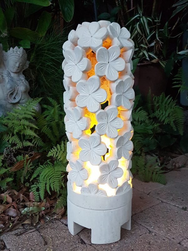 limestone lantern FRANGIPANI - 60x20cm - for interior and outdoor design. Add power through a hole in the bottom or add a candle for ambience.