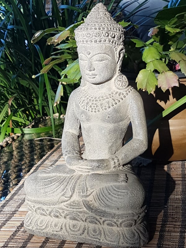 This elegant Fertile buddha - 30x19cm - from CasaPandan. It is handcrafted in volcanic ash and concrete by the talented Balinese craftsmen and women.
