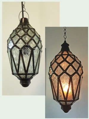 Balinese light or lantern Frosted - CPL13 - 40x20cm glass and brass handcrafted in Bali will not rust - with a large door on the side for access.