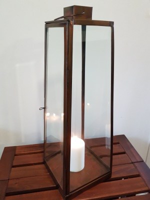 Table Lantern - Bevelled glass and brass - 60x20cm handcrafted in Bali will not rust. Each light or lantern has a large door on the side for access.