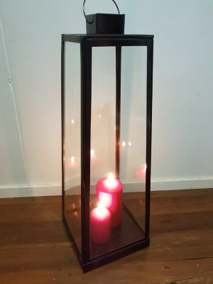 Table Lantern -60X20cm-CPL24 with a side door. Handcrafted by Balinese artisans for outdoors or indoors, they will not rust.