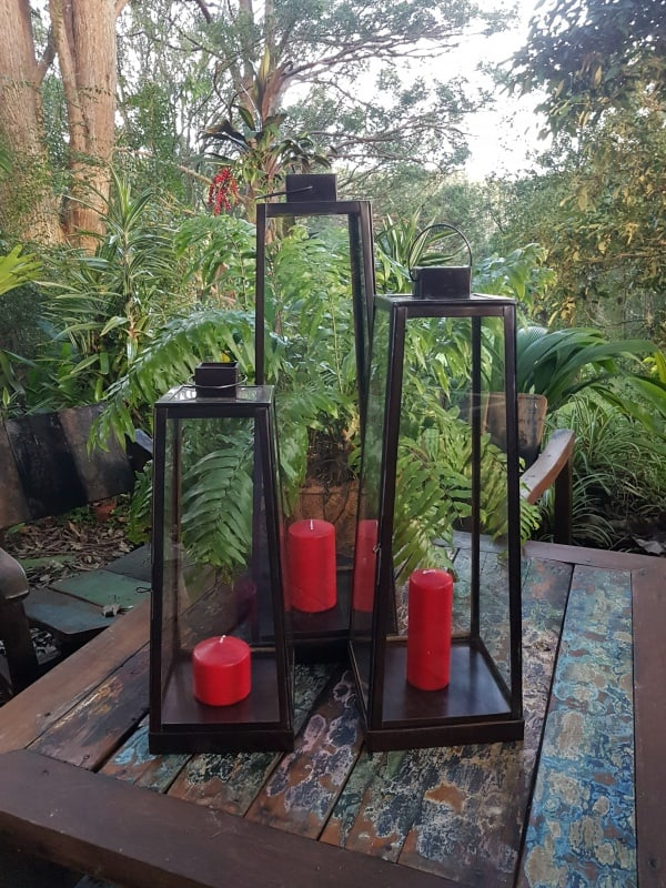 Table lanterns tall- glass and brass