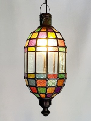 Balinese Coloured Bevelled Light-12 PANELS - Glass and Brass handcrafted in Bali will not rust - a large door on the side for access.