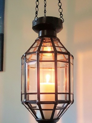 Balinese light or lantern - Bevelled GLASS PANELS 40x15cm - CPL16 - handcrafted in Bali will not rust - a large door on the side for access.