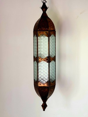 Moroccan Long Light - 75x15cm- CPL3 - glass and brass will not rust. Handcrafted in Bali, each light has a large door on the side for access.