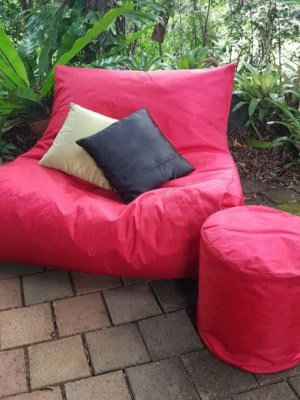 Double Beanbag Red Turquoise