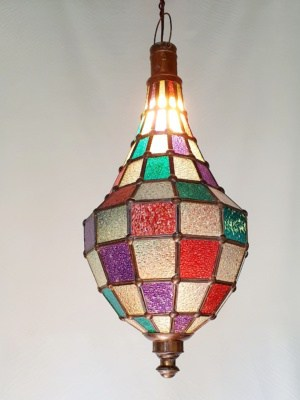 Coloured Light - Glass and Brass- 60x25cm - handcrafted in Bali will not rust. Each light has a large door on the side for access.