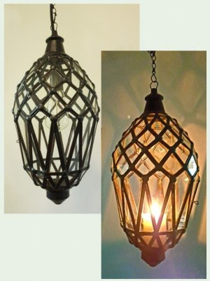 Bali light diamond pattern -45x20cm- CPL11- glass and brass handcrafted in Bali will not rust. Each light or lantern has a large door on the side for access.