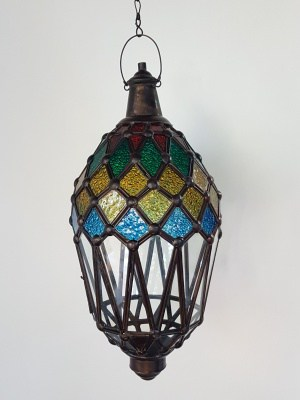 Balinese Coloured Light or Lantern 45x20cm - CPL4a handcrafted glass and brass will not rust - a large door on the side for easy access.