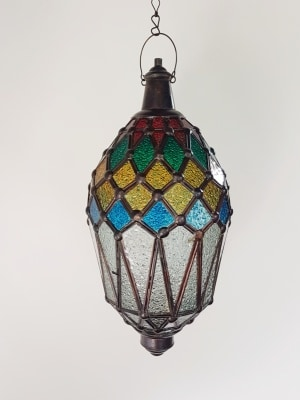 Balinese Frosted Coloured Light - 45x20cm - CPL5A- glass and brass handcrafted - a large door on the side for easy access.