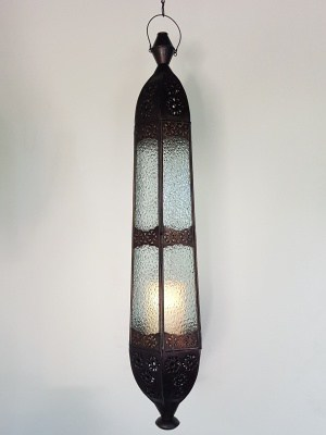 Balinese Long Light - 85x20cm - CPL35 - Glass and Brass - handcrafted in Bali will not rust. Each light has a large door on the side for access.