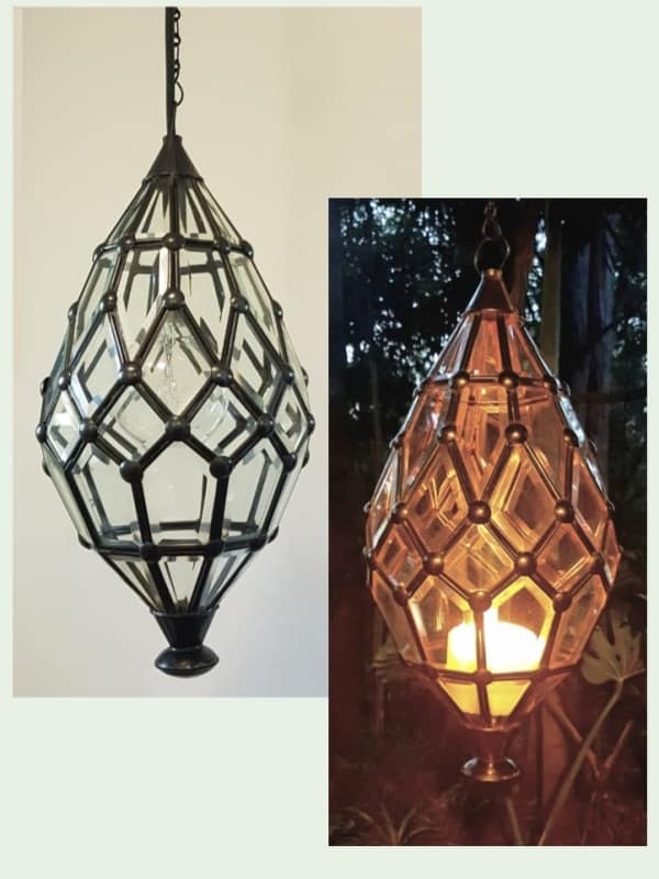 Balinese Pendant Light - Bevelled -45x20cm CPL10 - Glass and Brass handcrafted in Bali will not rust. Each light has a large door on the side for access.