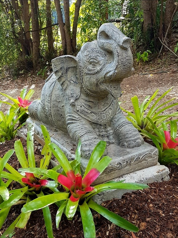 Elephant statue 75x65x35cm CPS42 -trunk raised in a gesture of good luck and fortune, this beautiful large elephant welcomes all that is good into your home or garden.