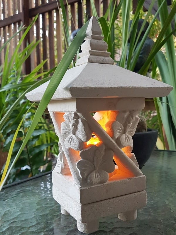 Bali Lantern - Hibiscus 25x15cm-24a Limestone for interiors and outdoor design with a hole in the base for a powered light to be installed.
