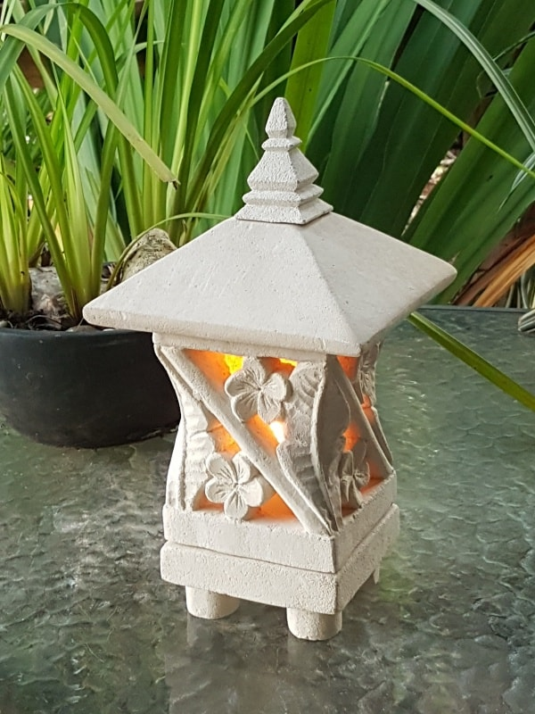 Bali limestone pagoda lantern- Leaf design 26x15cm-These limestone lanterns are great for interior or outdoor spaces, can be powered or candlelight.
