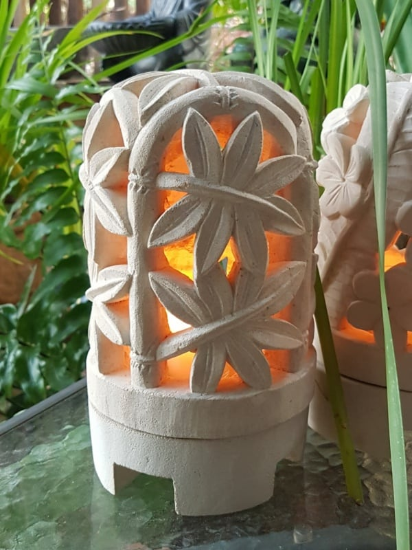 Balinese Limestone Lantern - BAMBOO DOME -26x15cm Limestone for interiors and outdoor design with a hole in the base for a powered light to be installed.