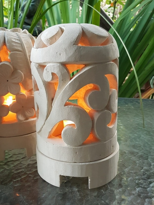 Balinese LIMESTONE LANTERN - SCROLL 26x15cm DOME -Limestone for interiors and outdoor design. Use candle power or install a light.