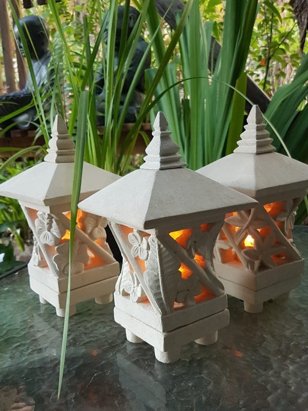 Pagoda Limestone Lanterns 25x15cm -Limestone for interiors and outdoor design with a hole in the base for a powered light to be installed.