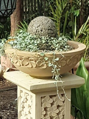Our limestone bowls are hand carved from solid Balinese limestone. 40cm diameter x15cm - Stand on top of one of our limestone plant stands.