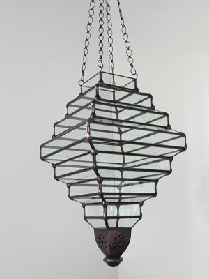 Pendant Light - Art Deco -55x35cm CPL38 - Glass and Brass handcrafted in Bali will not rust. Each light has a large door on the side for access.