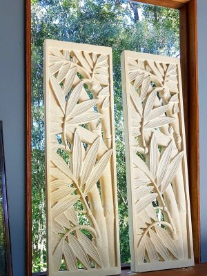 Bali limestone panel - Bamboo limestone panels - hand carved from Balinese limestone. 93cm diameter x 28cm - for your garden or home.