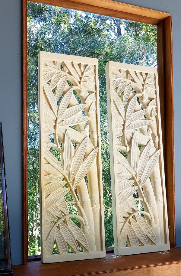 Bali limestone panel - Bamboo 93x28cm CPS26 Our limestone panels are hand carved from solid Balinese limestone. 93cm diameter x 28cm - Stunning as a panel in your garden wall or your home.
